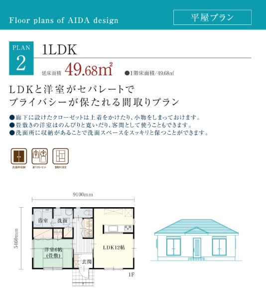 アイダ設計 平屋1LDKのプラン例
