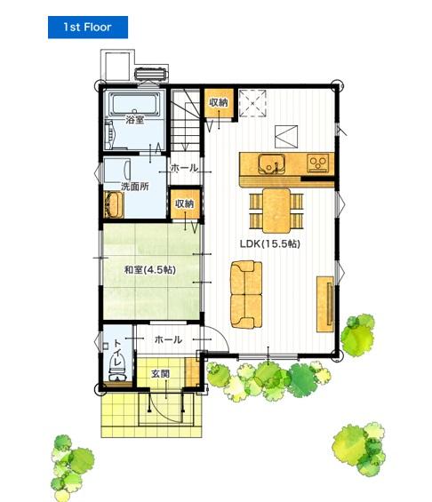 i-passoの家 合志市幾久富 28坪 4LDK 建売・一戸建ての新築物件 1Fの間取り