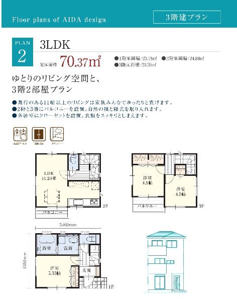 アイダ設計 公式サイト 3階建て間取プラン集 21.32坪 3LDKの間取り例