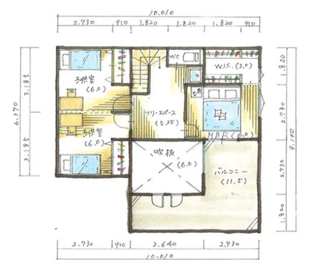 出典:納得スタイルホーム 公式サイト 「40坪 プライベートな庭と開閉できる吹き抜けの窓で風が吹き渡る間取り」