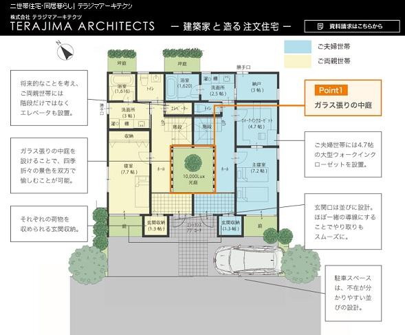 テラジマアーキテクツ 公式サイト 建築実例「中庭を介してつながる 左右分離型二世帯住宅」 1階の間取り
