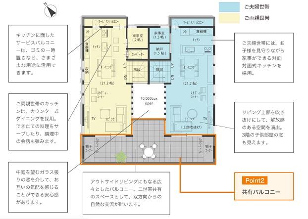 テラジマアーキテクツ 公式サイト 建築実例「中庭を介してつながる 左右分離型二世帯住宅」2階の間取り