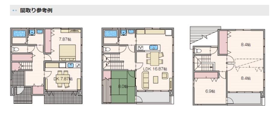 アキュラホーム3階のある家 間取り実例