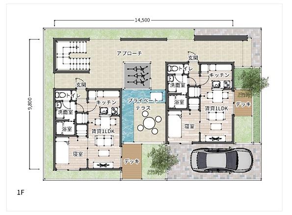日本ハウスHD 賃貸併用住宅 G-レジデンス34/プライムステージ 間取り例