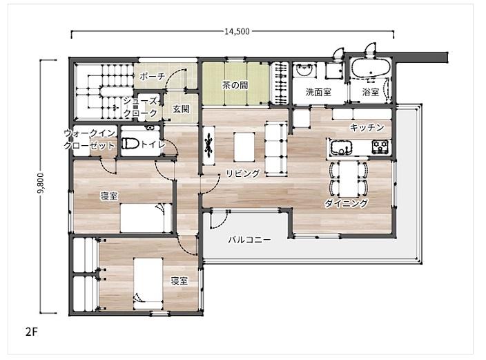 日本ハウスHD 賃貸併用住宅 G-レジデンス34/プライムステージ 2F間取り例