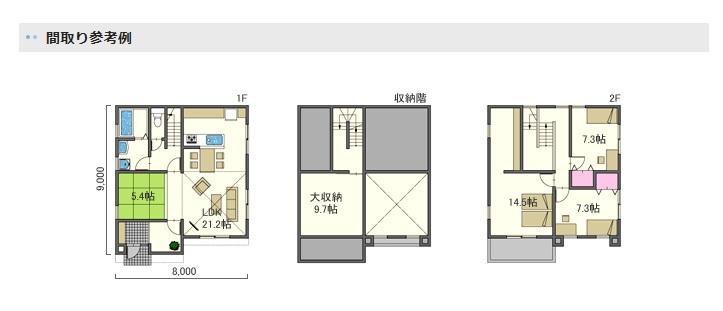 アキュラホーム 大収納のある家 間取り例