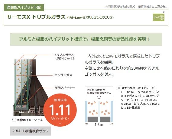アイフルホーム サーモスX トリプルガラス(内外Low-E/アルゴンガス入り)