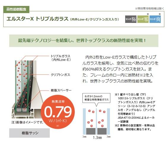 アイフルホーム エルスターX トリプルガラス(内外Low-E/クリプトンガス入り)