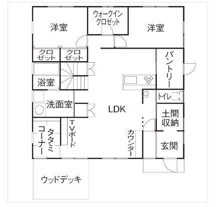 SUUMO 公式サイト のこのこのいえ施工実例 【1000万円台|平屋】緑の屋根と黄色のドアが可愛い平屋 間取り