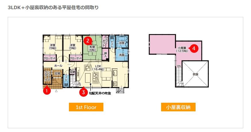 桧家住宅 公式サイト 3LDK+小屋裏収納のある平屋住宅の間取り