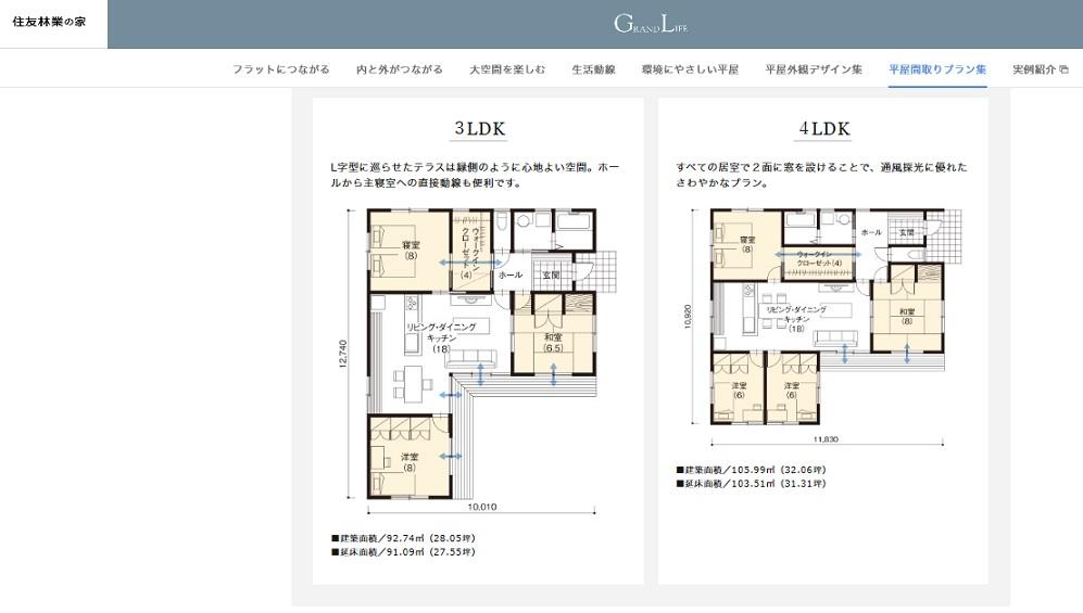 住友林業の家 公式サイト GRANDLIFE 間取り実例(通り抜けウォークインクローゼット)4LDK