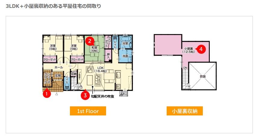 桧家住宅 公式サイト 広い小屋裏収納のある新築平屋建て・熊本県八代市鏡町