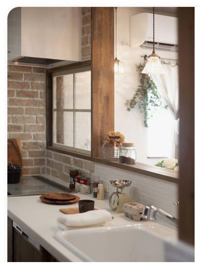 pinterest 公式サイト タイルやブリックタイルをバランスよく使ったカフェ風キッチン