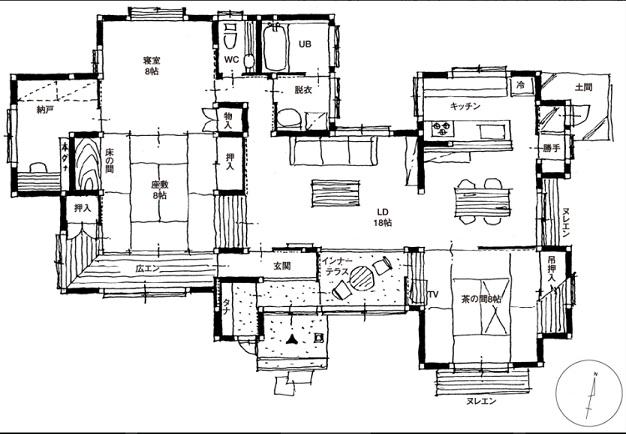 四季工房 公式サイト 間取りプラン 玄関からインナーテラスにつながるスペースは、気さくな接客の場