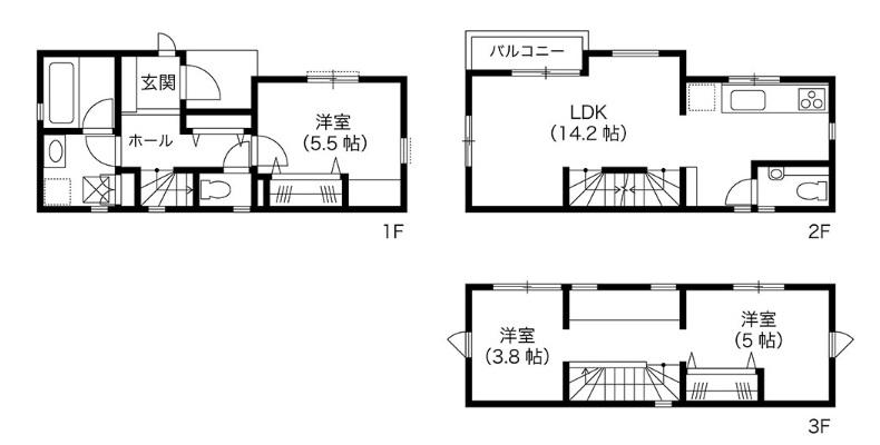 BLISS 公式サイト 大きな勉強カウンターのある狭小住宅