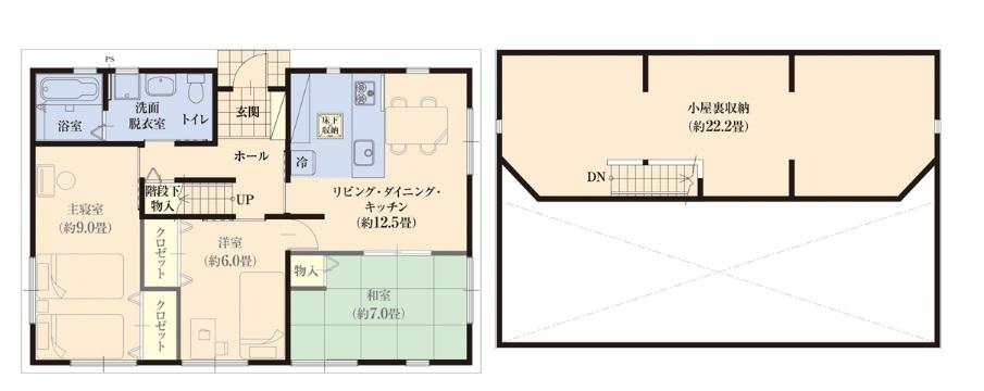 フェニーチェホーム 公式サイト メザニン1.0/1.5(収納たっぷり平屋建て) FHH23N-K1H-3 3LDKの間取り