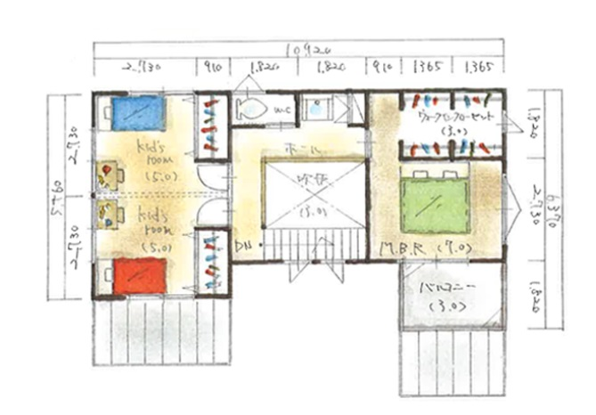 納得スタイルホーム 公式サイト 間取りプラン 35坪 ウッドデッキと吹き抜けで採光と採風に優れた爽やかな間取り