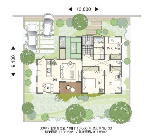 ミサワホーム 公式サイト 平屋住宅の間取り30-1N 北入りプランを生かし、南面にリビングなど3室を配した明るい住まい