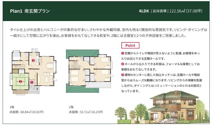 一条工務店 公式サイト セゾン 間取りプラン Plan1 南玄関プラン