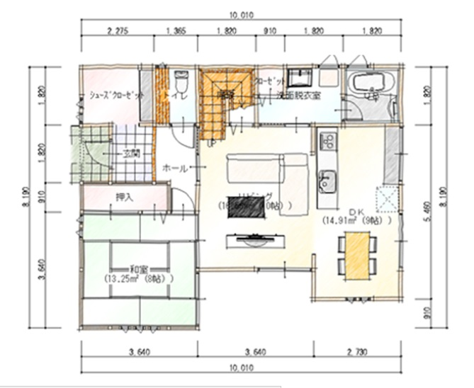 納得スタイルホーム 公式サイト 35坪 シューズクローゼットやウォーキングクローゼットなど、収納にこだわった間取り